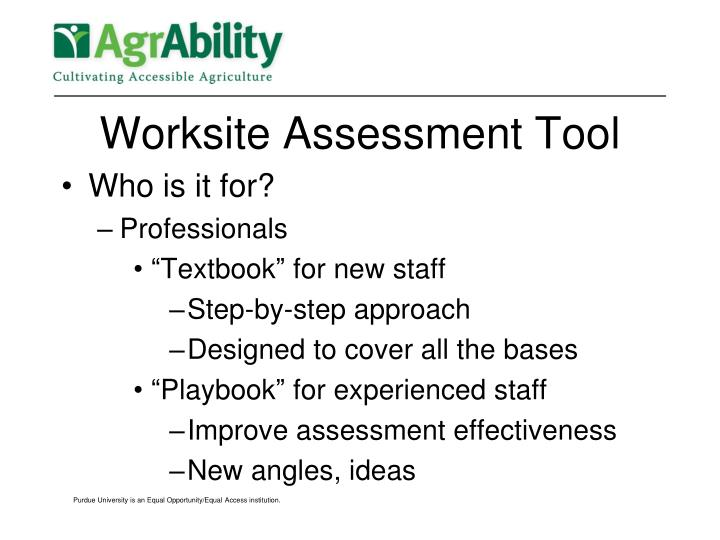 Worksite Assessment Tool