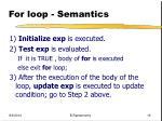 for loop semantics