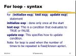 for loop syntax