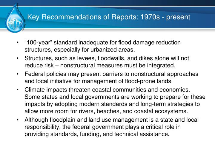 Key Recommendations of Reports: 1970s - present