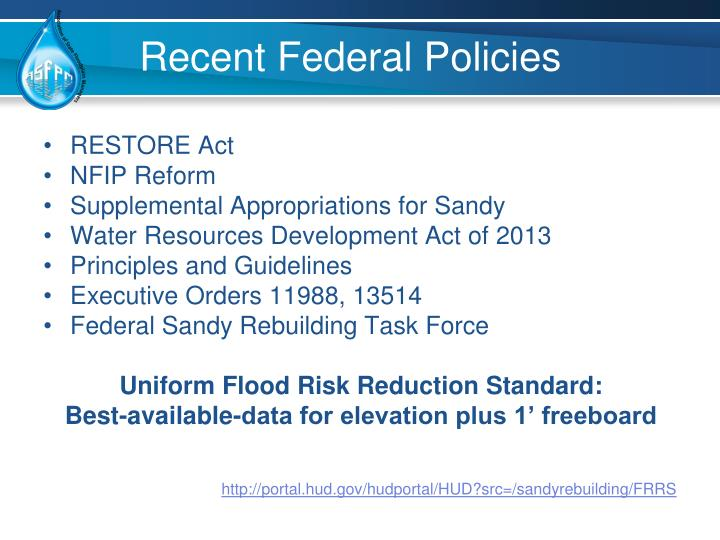 Recent Federal Policies