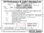 i o performance little s queuing law