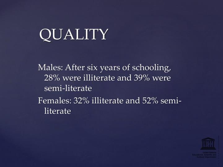 Males: After six years of schooling, 28% were illiterate and 39% were semi-literate