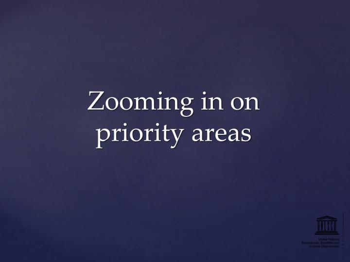 Zooming in on priority areas