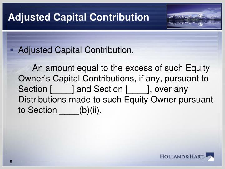 Adjusted Capital Contribution