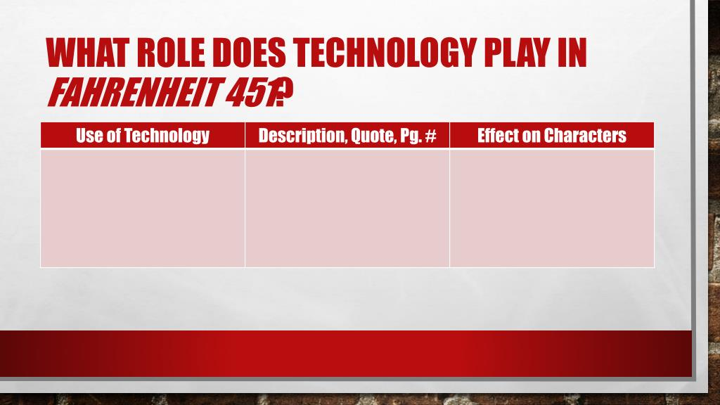 PPT - Fahrenheit 451 & technology PowerPoint Presentation