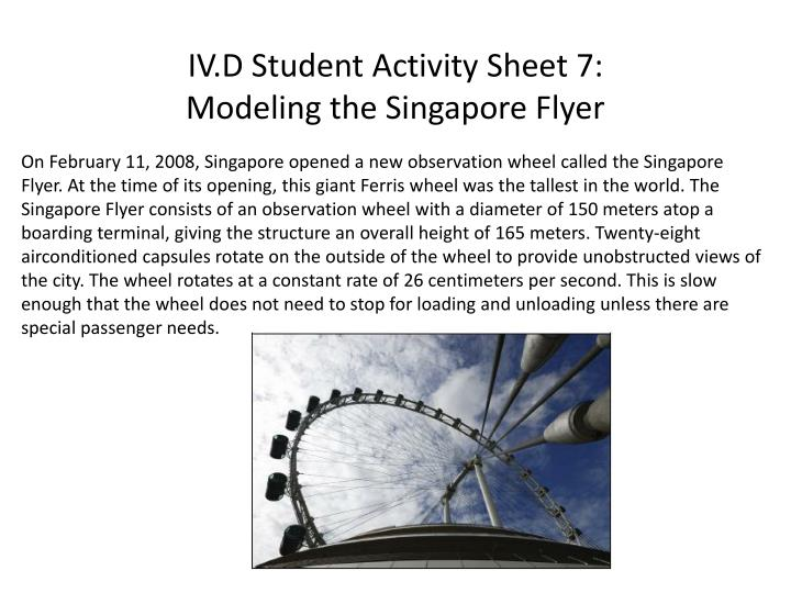 iv d student activity sheet 7 modeling the singapore flyer n.