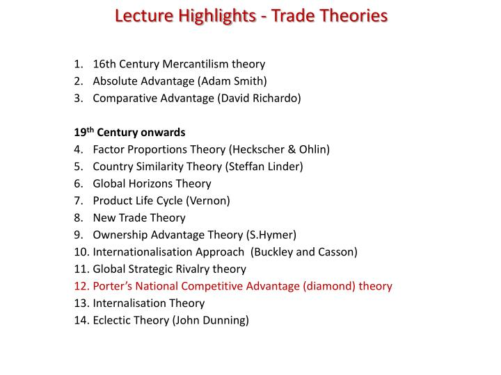 Lecture Highlights - Trade Theories