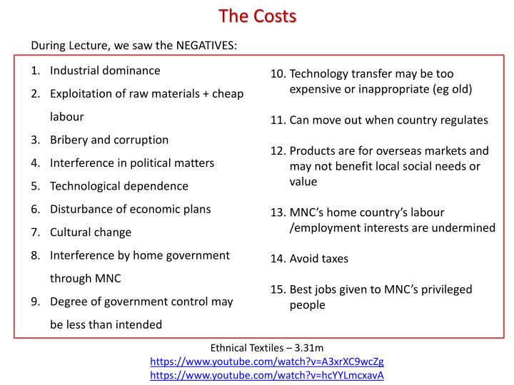 The Costs