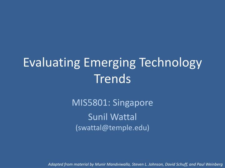 evaluating emerging technology trends n.
