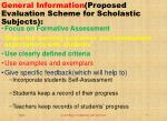 general information proposed evaluation scheme for scholastic subjects