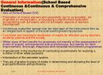 general information school based continuous continuous comprehensive evaluation