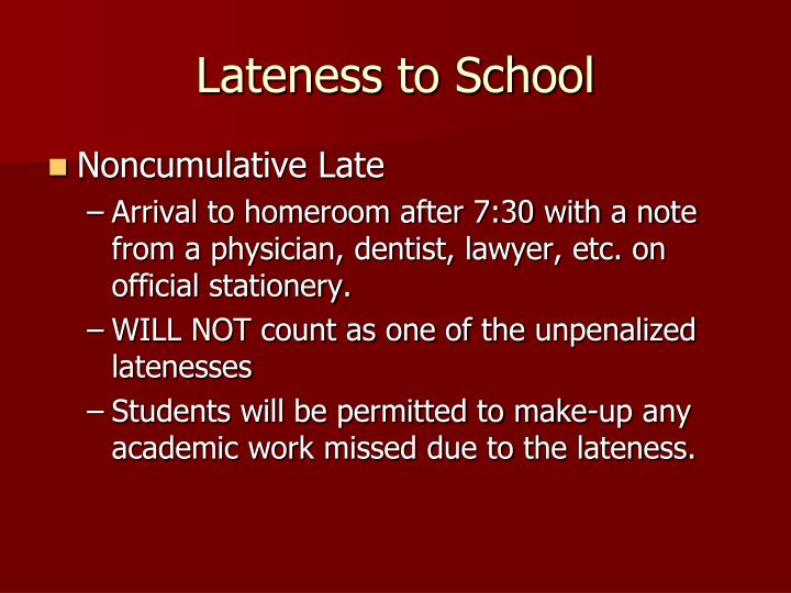 Lateness to School