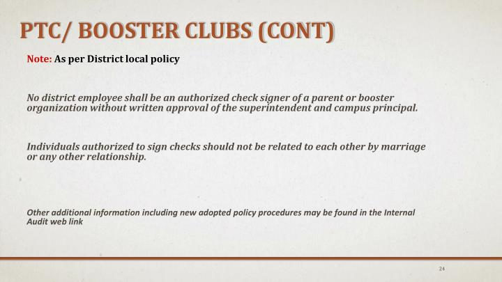 PTC/ Booster Clubs (cont)