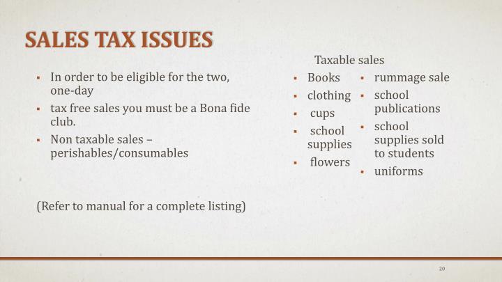 Sales Tax Issues