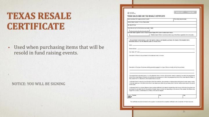 Used when purchasing items that will be resold in fund raising events.