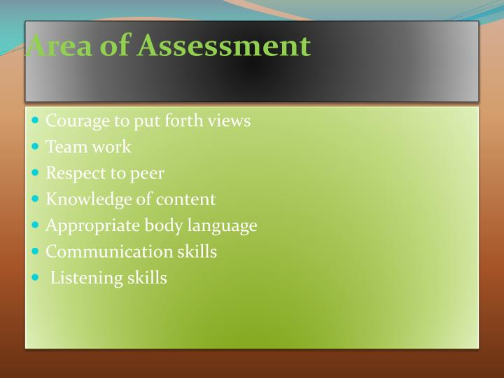 Area of Assessment