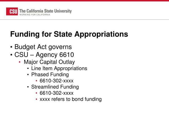Funding for State Appropriations