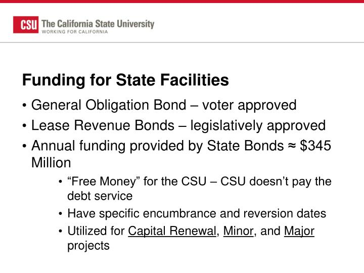 Funding for State Facilities