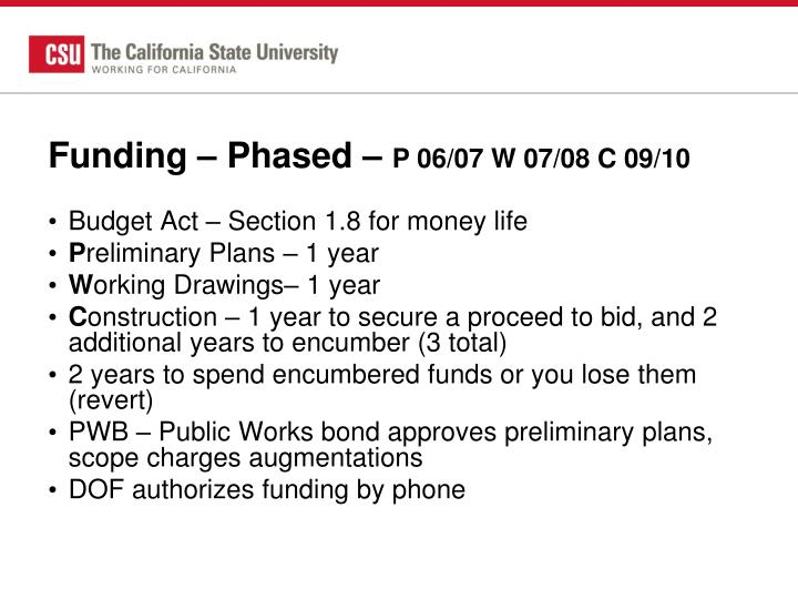 Funding – Phased –