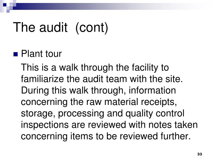 The audit  (cont)
