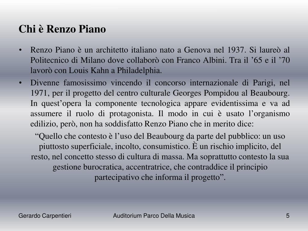 Renzo Piano Nato A ppt - auditorium parco della musica powerpoint presentation