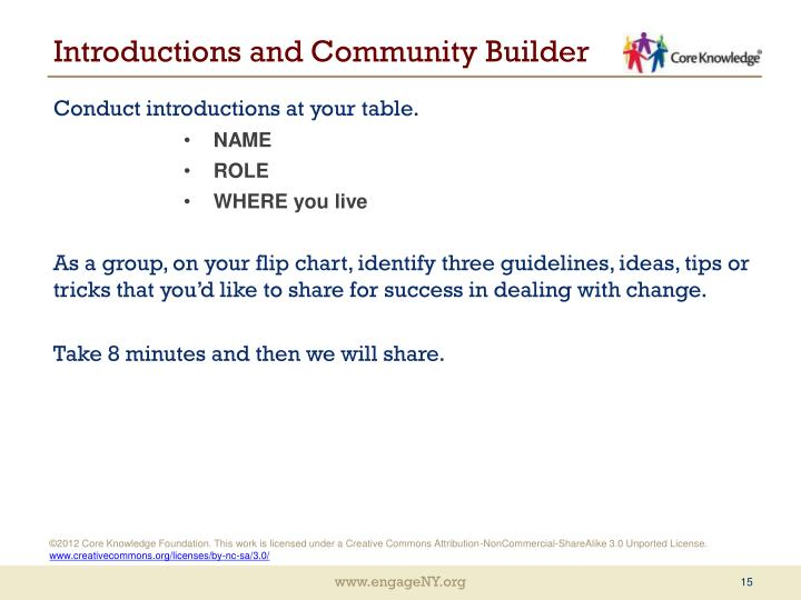 Introductions and Community Builder