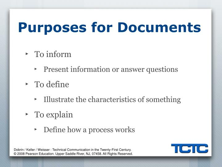 Purposes for Documents