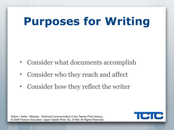 Purposes for Writing