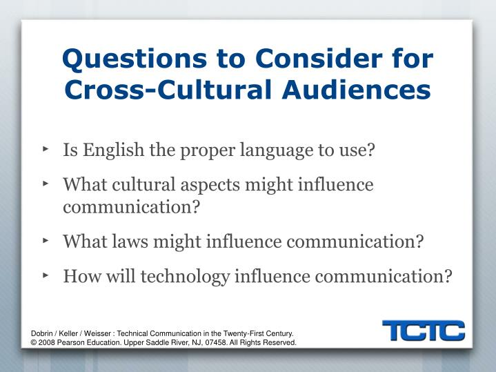 Questions to Consider for Cross-Cultural Audiences