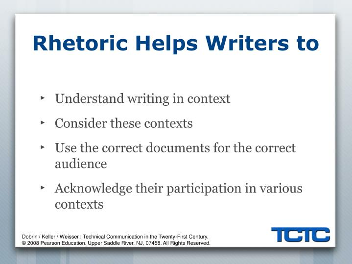 Rhetoric helps writers to