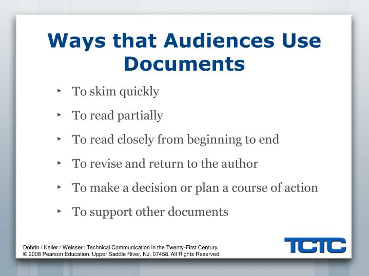 Ways that Audiences Use Documents