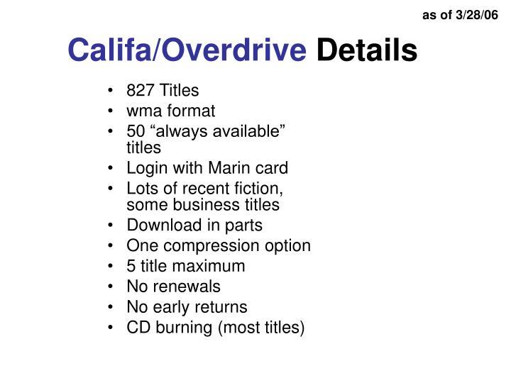 Califa overdrive details