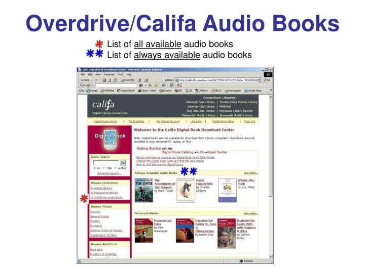 Overdrive/Califa Audio Books