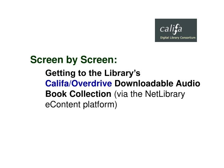 Screen by Screen: