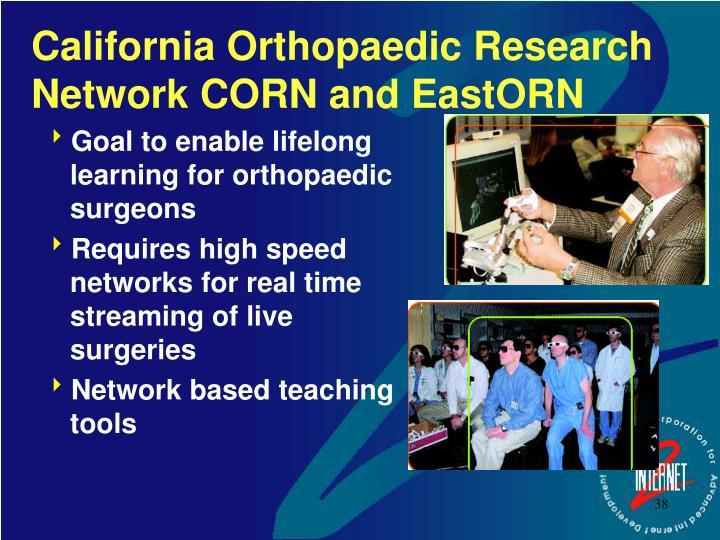 California Orthopaedic Research Network CORN and EastORN