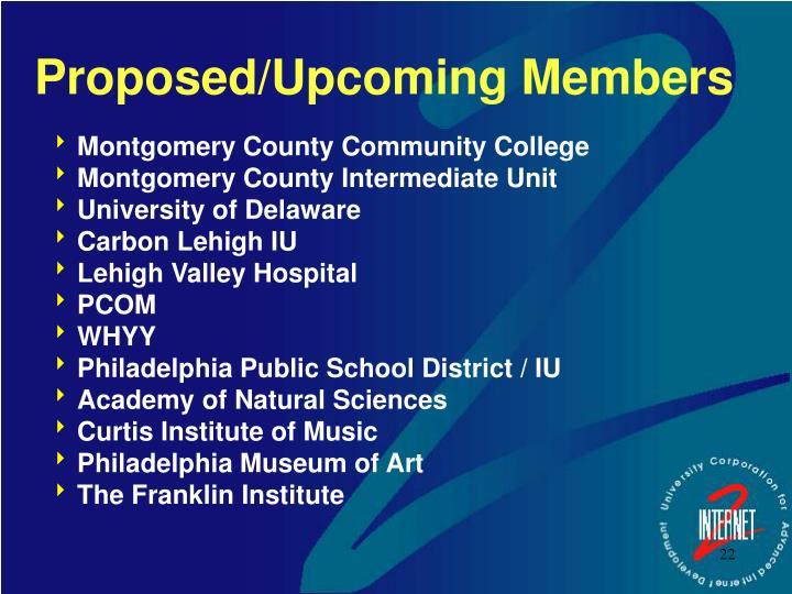 Proposed/Upcoming Members