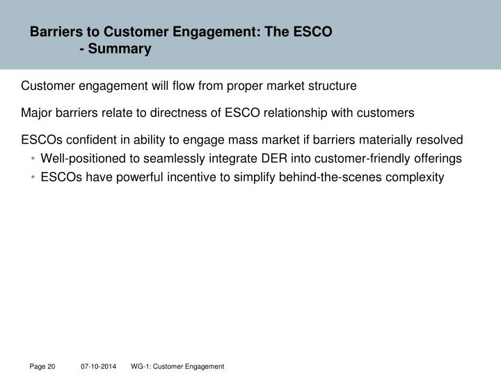 Barriers to Customer Engagement: The ESCO
