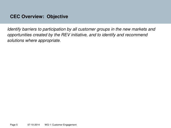 CEC Overview:  Objective