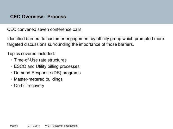 CEC Overview:  Process