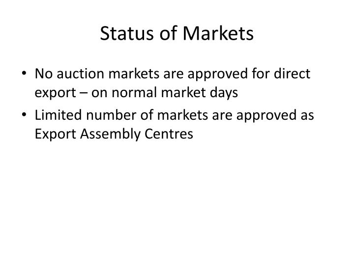 Status of Markets