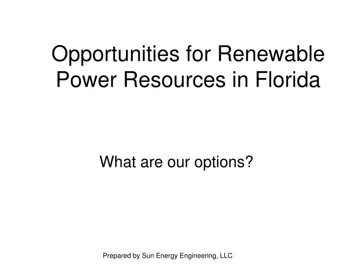 opportunities for renewable power resources in florida n.