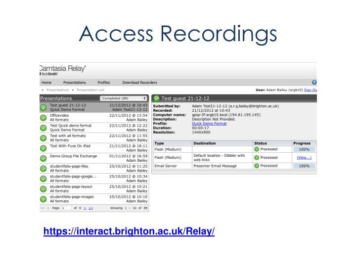 Access Recordings