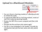 upload to a blackboard modules