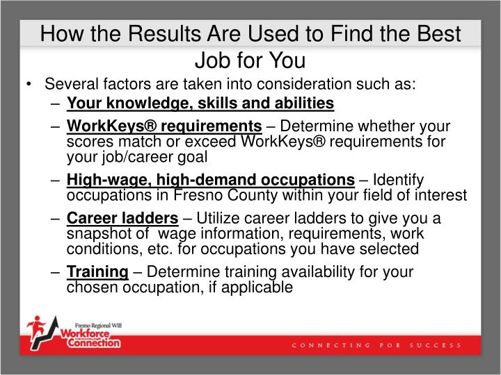 How the Results Are Used to Find the Best Job for You