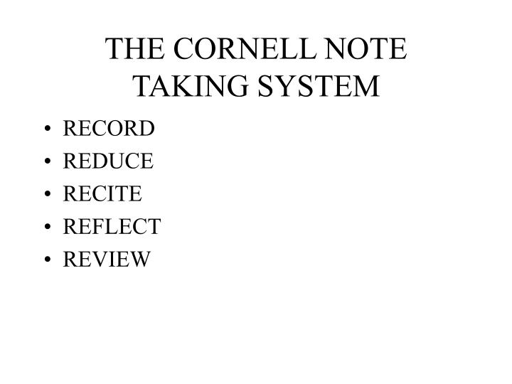 the cornell note taking system n.