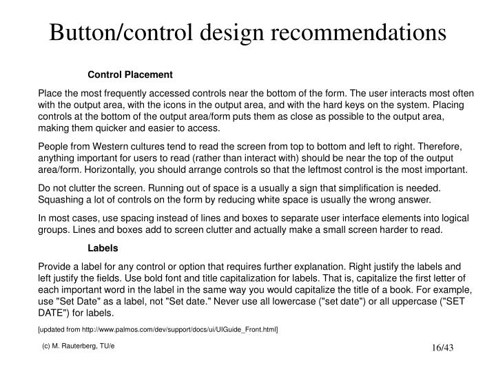 Button/control design recommendations