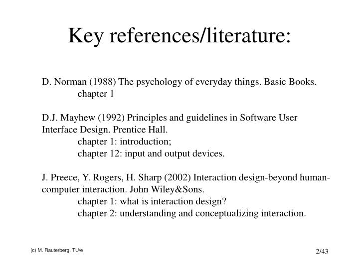 Key references/literature: