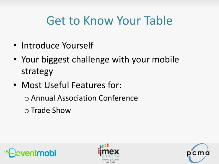 Get to Know Your Table