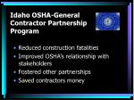 idaho osha general contractor partnership program